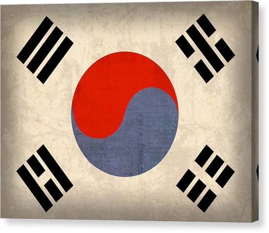 South Asia Canvas Print - South Korea Flag Vintage Distressed Finish by Design Turnpike