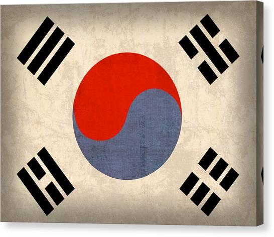 Patriotic Canvas Print - South Korea Flag Vintage Distressed Finish by Design Turnpike