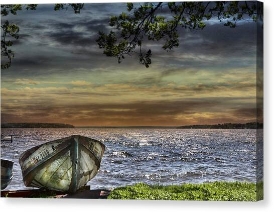 South Manistique Lake With Rowboat Canvas Print