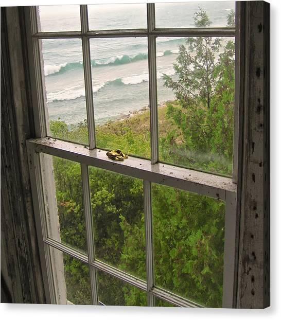 South Manitou Island Lighthouse Window Canvas Print