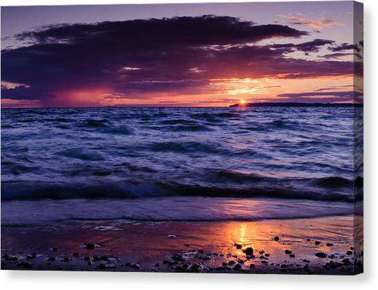 South Manitou Sunset Canvas Print by Thomas Pettengill