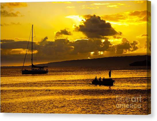 South Sea Sunset - Ferry And Yacht At Port Vila - Vanuatu - South Pacific.  Canvas Print