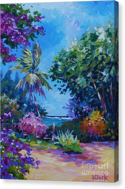Fiji Canvas Print - South Sound View With Bougainvillea by John Clark