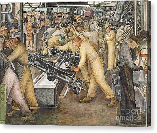 Factories Canvas Print - South Wall Of A Mural Depicting Detroit Industry by Diego Rivera