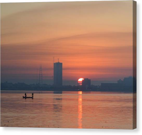 Southern City Sunrise Canvas Print by Eileen Corbel