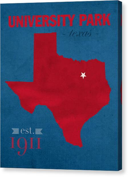 Texas State University Texas State Canvas Print - Southern Methodist University Mustangs Dallas Texas College Town State Map Poster Series No 098 by Design Turnpike