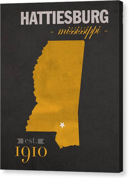 Mississippi State University Canvas Print - Southern Mississippi Golden Eagles Hattiesburg College Town State Map Poster Series No 099 by Design Turnpike