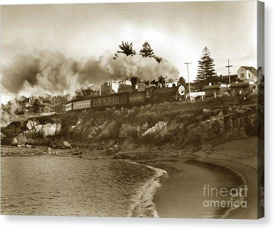 Southern Pacific Del Monte Passenger Train Pacific Grove Circa 1954 Canvas Print