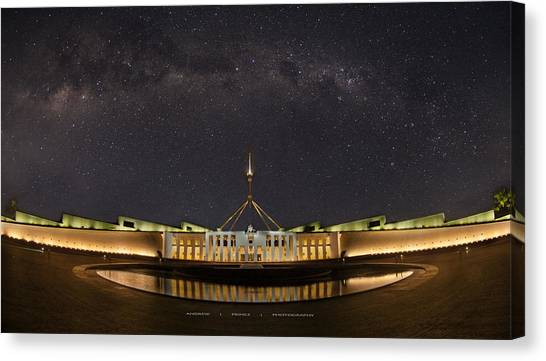 Southern Sky Parliament House  Canvas Print by Andrew Prince