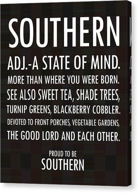 Sweet Tea Canvas Print - Southern State Of Mind Black And White by Debbie Karnes