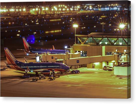 Southwest 737s In For The Night Canvas Print