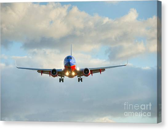 Southwest Airline Landing Gear Down Canvas Print