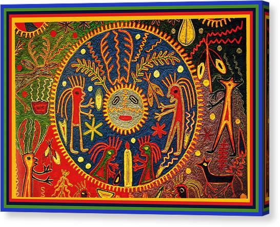 Southwest Huichol Del Sol Canvas Print