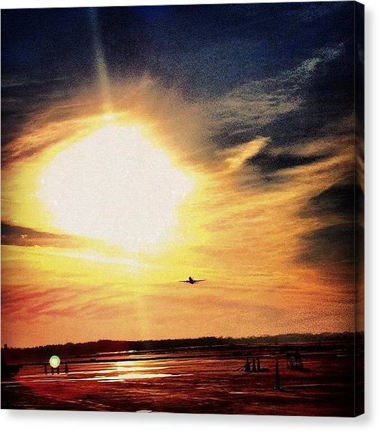 Jets Canvas Print - Southwest Toward The Setting Sun #sun by Harrison Miller