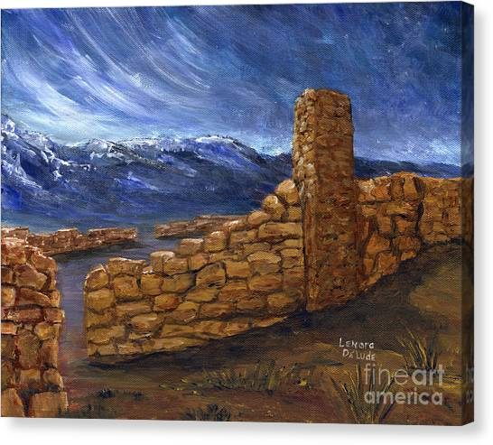 Southwestern Night Landscape Rock Ruins Canvas Print