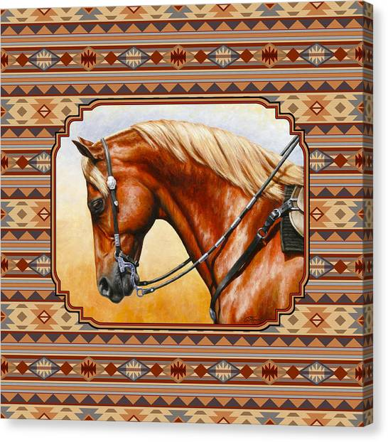 Western Pleasure Canvas Print - Southwestern Quarter Horse Pillow by Crista Forest