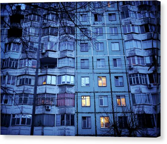 Soviet-era Housing In Transnistria Canvas Print by Amos Chapple