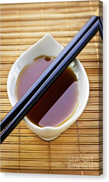 Condiments Canvas Print - Soy Sauce With Chopsticks by Elena Elisseeva