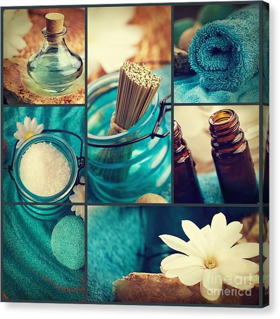 Mythja Canvas Print - Spa Collage by Mythja  Photography
