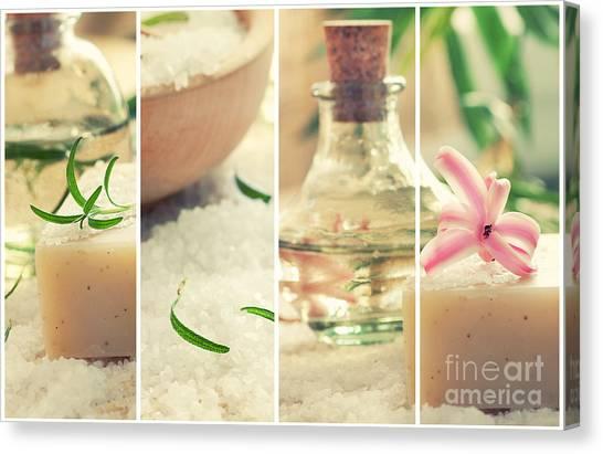 Mythja Canvas Print - Spa Collage With Bath Salt And Flower by Mythja  Photography