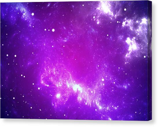 Space Background With Purple Nebula And Stars Canvas Print by Peter Jurik