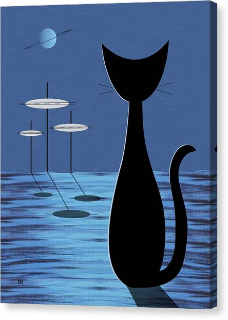 Outer Space Canvas Print - Space Cat In Blue by Donna Mibus