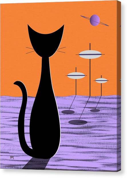 Space Cat Orange Sky Canvas Print