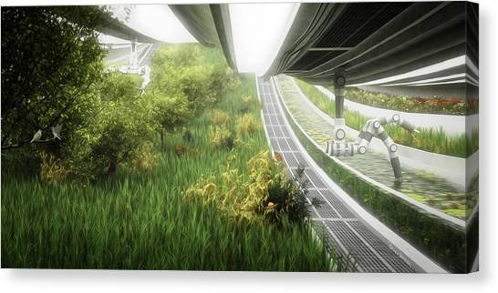 Canvas Print featuring the digital art Space Colony Farm by Bryan Versteeg