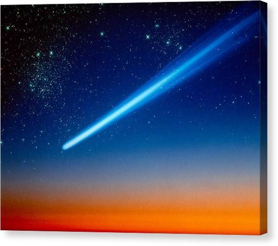 Shooting Stars Canvas Print - Space, Comet Speeding Across The Night by Panoramic Images