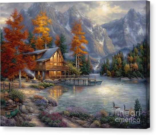 Fishing Canvas Print - Space For Reflection by Chuck Pinson