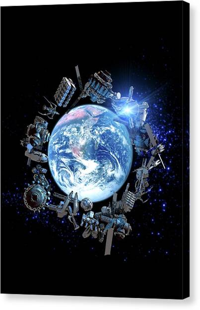 Space Junk, Conceptual Artwork Canvas Print by Victor Habbick Visions