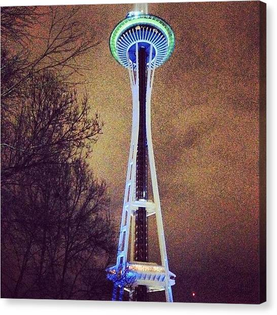 Seattle Seahawks Canvas Print - Space Needle All Dressed Up For Playoff by James Higuera