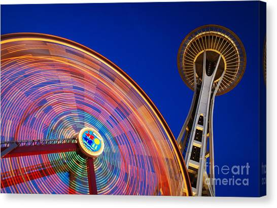 Space Needle Canvas Print - Space Needle And Wheel by Inge Johnsson