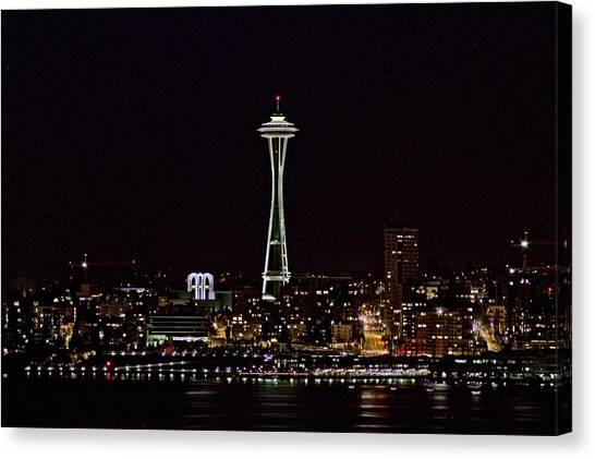 Space Needle At Night Canvas Print by Marv Russell