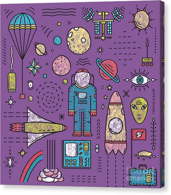 Planet Canvas Print - Space Planets Stars Cosmonaut Design by Popmarleo