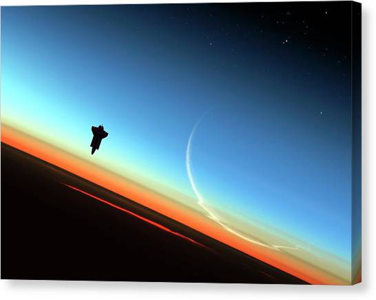 Space Ships Canvas Print - Space Shuttle Above Earth's Atmosphere by Detlev Van Ravenswaay