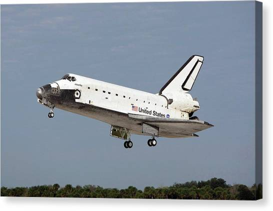 Space Shuttle Canvas Print - Space Shuttle Atlantis Landing by Nasa/science Photo Library
