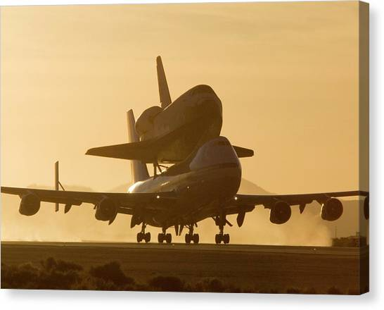 Space Shuttle Canvas Print - Space Shuttle Atlantis On A Boeing 747 by Nasa/dfrc/science Photo Library