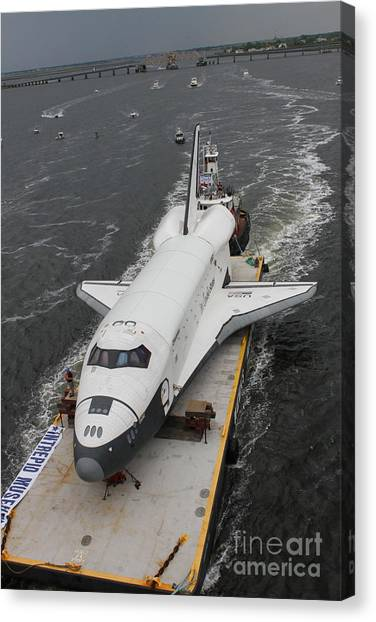 Space Shuttle Enterprise Is Barged To The Intrepid Air And Space Museum Canvas Print