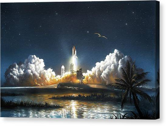 Space Ships Canvas Print - Space Shuttle Launch by David A. Hardy