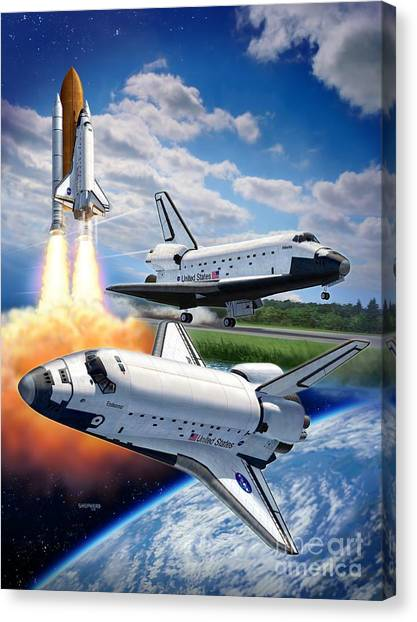 Space Ships Canvas Print - Space Shuttle Montage by Stu Shepherd