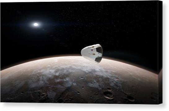 Spacex's Red Dragon At Mars Canvas Print by Spacex/science Photo Library