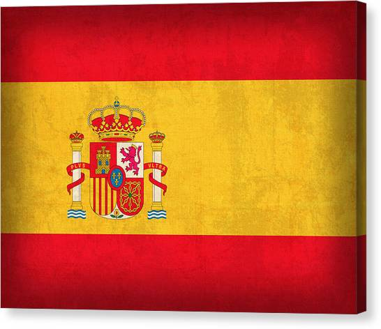 Distressed Canvas Print - Spain Flag Vintage Distressed Finish by Design Turnpike