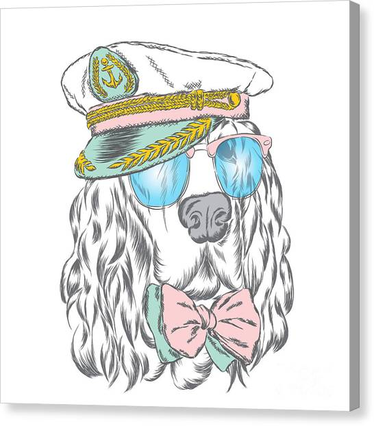 Clothing Canvas Print - Spaniel In The Captains Cap. Vector by Vitaly Grin