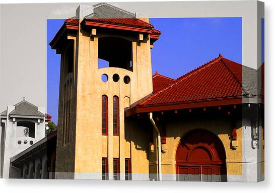 Spanish Architecture Tile Roof Tower Canvas Print