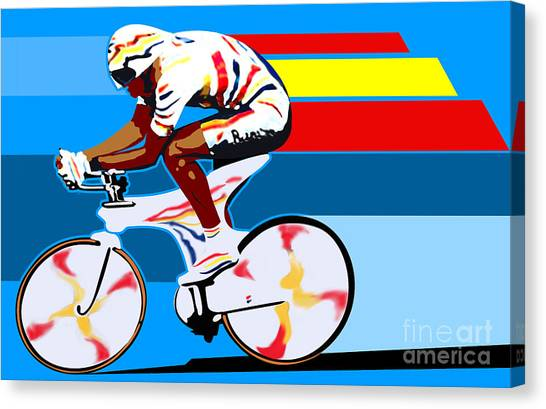 Gear Canvas Print - spanish cycling athlete illustration print Miguel Indurain by Sassan Filsoof