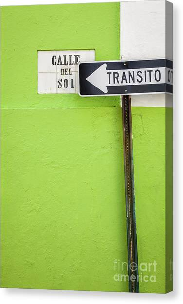 Spanish One Way Sign And Street Sign In Old San Juan Puerto Rico Canvas Print