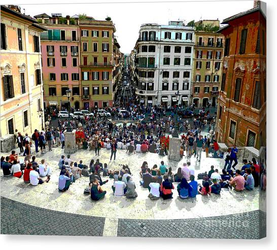 Spanish Steps Looking Down Canvas Print