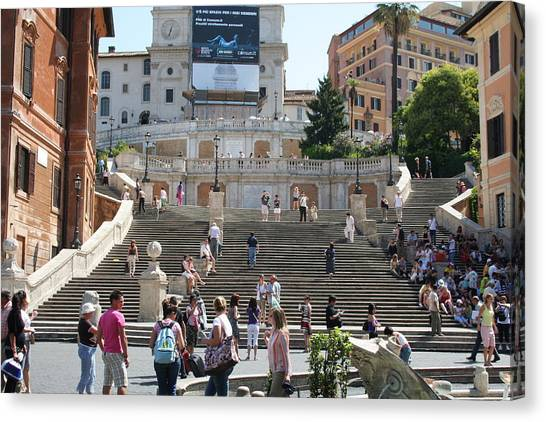Spanish Steps With People Canvas Print by Pejft