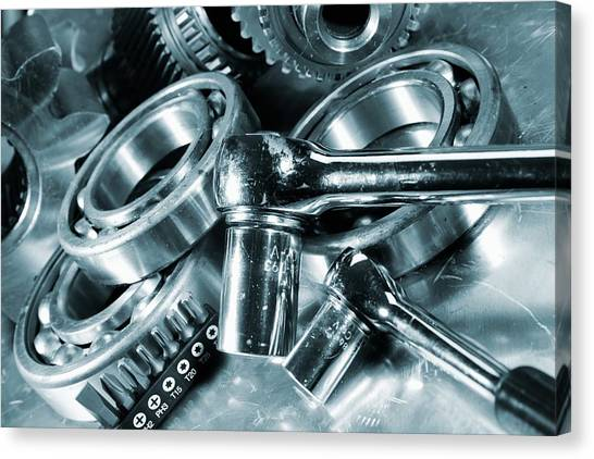 Wrenches Canvas Print - Spanners With Engineering Parts by Christian Lagerek/science Photo Library